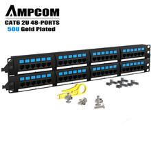 AMPCOM высшего серии кот 6 патч Панель, 50U, литый золотом, 2U 48-Порты и разъёмы в стойку или крепёж для заделки патч Панель