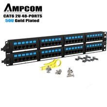 AMPCOM Supreme Series CAT 6 Patch Panel, 50U Gold Plated, 2U 48-Port Rackmount or Wallmount Punch Down Panel
