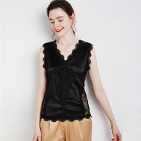 100% silk tank tops for women high quality Solid Lace Up Decoration V Neck Sleeveless Basic Top Clothing Casual New Fashion
