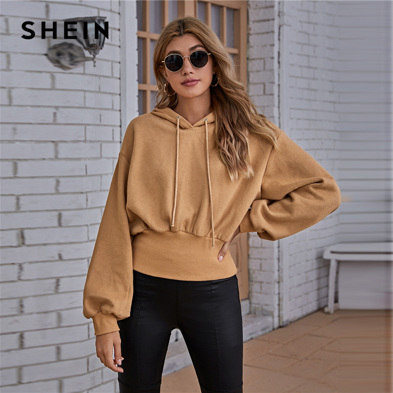 SHEIN Drop Shoulder Drawstring Hoodie Women Autumn Sweatshirt Pullover Lantern Sleeve Solid Casual Sweatshirts|Hoodies & Sweatshirts| - AliExpress