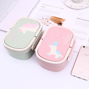 Kids Cartoon Lunch Box Cute Unicorn Bento Boxs Set School Student Portable Thermal Lunchbox with Unicorn Lunch Bag for Girls