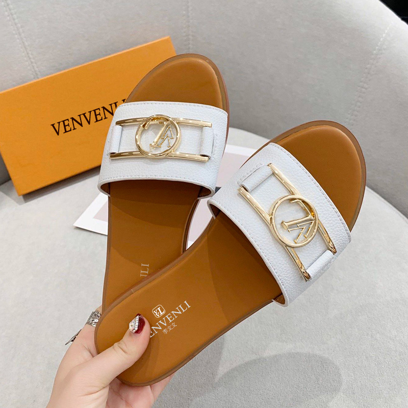 Hot release of French V VL summer new slippers women's shoes soft leather top luxury standard manufacturing fine packaging|Slippers| - AliExpress