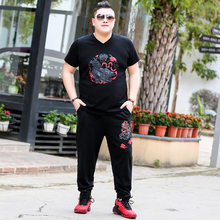 Plus Size Mannen Korte Mouwen T-shirt Broek Met Vet Man Vet Casual Sport Tweedelig Pak(China)