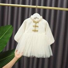 Dress Long-Sleeve Girl's Baby Kids Princess Sweet Puff Stitching Chinese-Style Autumntemperament
