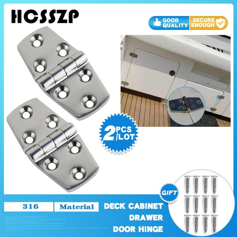 HCSSZP 2 Pcs 38*76mm Hinge Heavy Duty Marine 316 Stainless Steel Butt for Boat Caravan RV Deck Cabinet Drawer Door