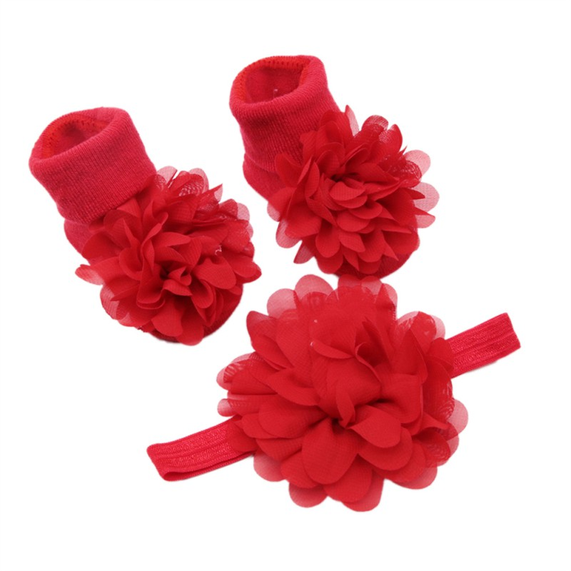 Hilittlekids Newborn Baby Cute Lace Floral Cotton Socks With Big Flower Hairband Photography Props Set