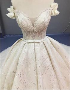 Image 3 - Robe de mariée luxueuse, à paillettes, robe de mariée princesse ligne A, taille/couleur, modèle 2020