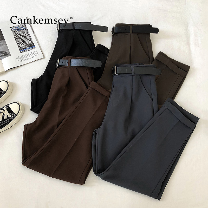 CamKemsey Office Lady Work Leisure Suit Pants 2020 Korean Solid Spring Autumn Casual High Waist Ankle Length Harem Pants