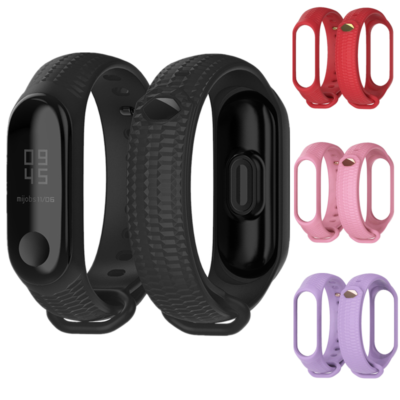New Design Silicone Wristband For Xiaomi Mi Band 3 Accessories Mi Band 4 Honeycomb Pattern Silicone Bracelet Wristband Miband 3