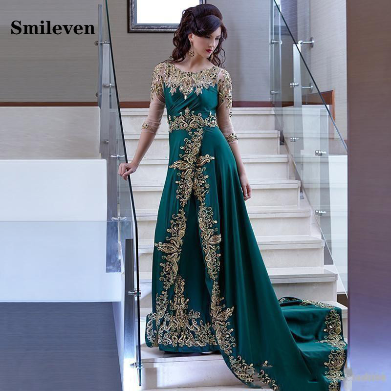 Smileven Hunter Green Moroccan Kaftan Dubai Evening Dresses Gold Lace Applique Velour Saudi Arabic Muslim Party Gowns