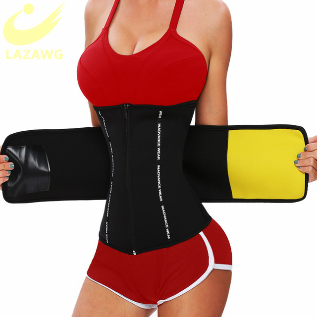 LAZAWG Waist Trainer Thermo Sweat Belt Weight Loss Girdle Corset Women Tummy Body Shaper Fat Burning 3 Ways Firm Control Waist