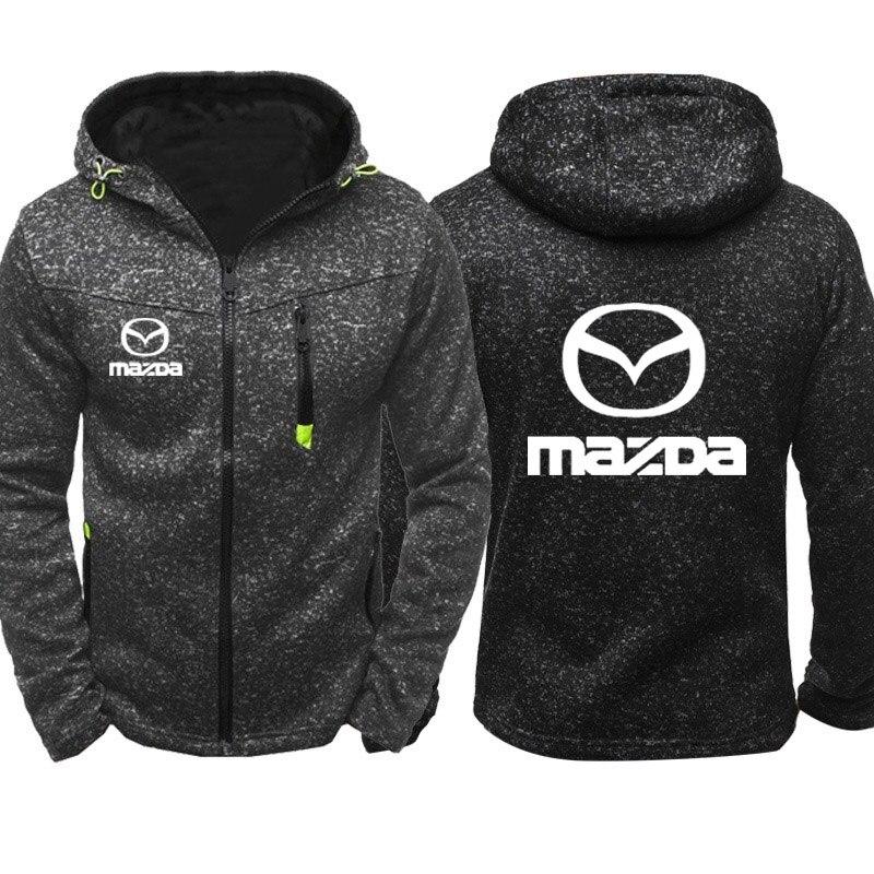 Hoodies Men Mazda Car Logo Print Casual Hip Hop Harajuku Long Sleeve Hooded Sweatshirts Mens Zipper Jacket Man Hoody Clothing