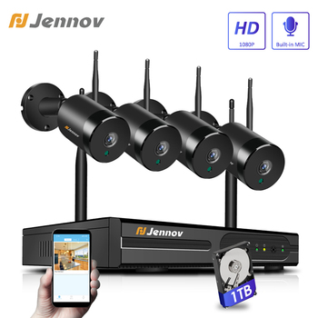 Jennov 8Pcs 2MP CCTV Wireless System HDD Audio Record H.264 1080P Outdoor P2P Wifi IP Security Camera Set Video Surveillance Kit 4ch video surveillance system cctv camera 1080p 2mp hd wireless security cameras for home with nvr cctv set audio record 2tb hdd