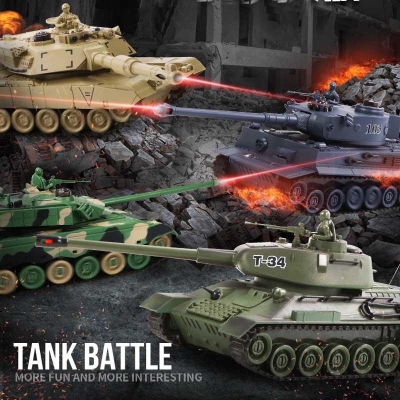 Rc Battle Tank Remote Control War Shooting Tank Big Scale Radio Tiger Tank T-34 Army Battle Tank Model Battle RC Tank Toy