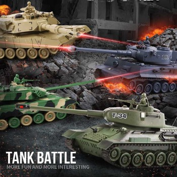 Rc Battle Tank Remote Control War Shooting Tank Big Scale Radio Tiger Tank T-34 Army Battle Tank Model Battle RC Tank Toy фото