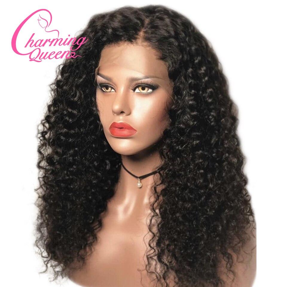 レースフロント人毛ウィッグ黒人女性ナチュラルカラー #4 事前摘み取ら深いカーリーブラジルの Remy 毛かつらで  グループ上の ヘアエクステンション & ウィッグ からの 人毛レースウィッグ の中 1