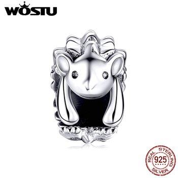 Wostuu 100% Plata de Ley 925 cuentas de erizo dije Aninal ajuste Original pulsera colgante collar accesorios de joyería CQC1420