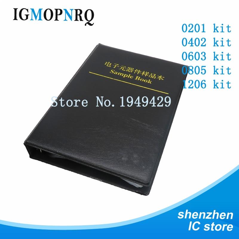 1 Book 170values *50pcs=8500pcs 0201 0402 0603 0805 1206 SMD Resistor 1% 0R~10M Sample Book Resistors Assortment Kit Resistors