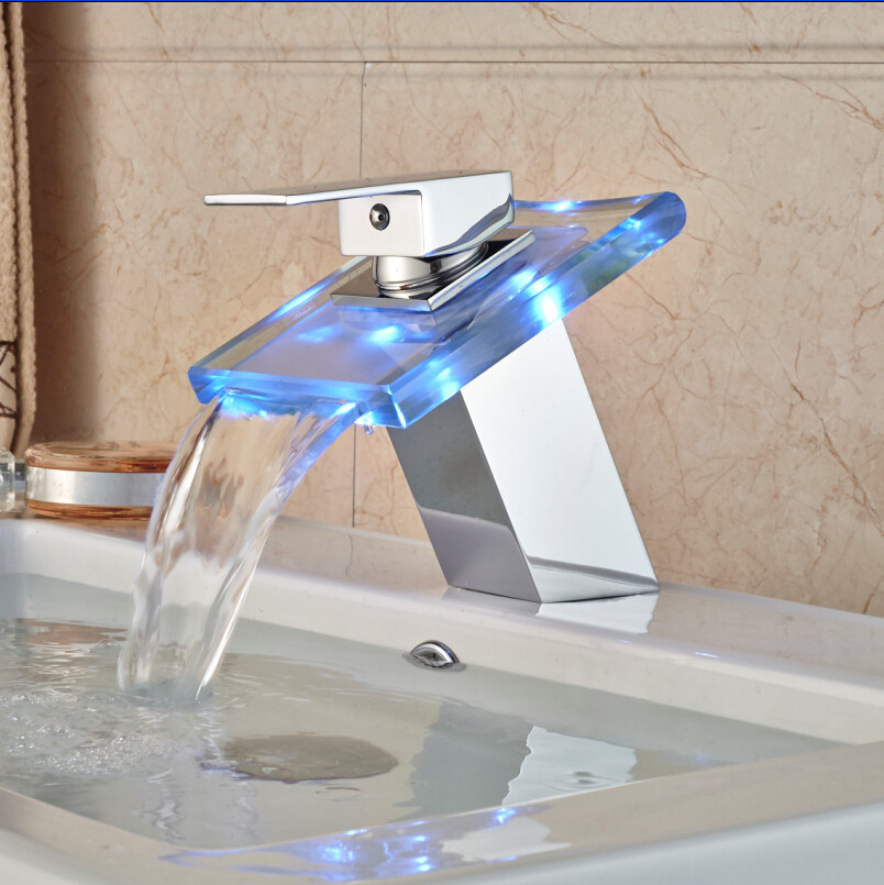 LED Basin Faucet Brass Waterfall Temperature Colors Change Bathroom Mixer Tap Deck Mounted Wash Sink Glass Taps Hot And Cold Tap