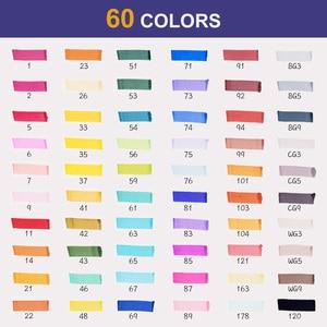 Image 5 - 60 marqueurs dalcool colorés dessin dart Manga double pointe marqueur ensemble de stylos + sac de transport + stylo de mise en évidence fournitures dart