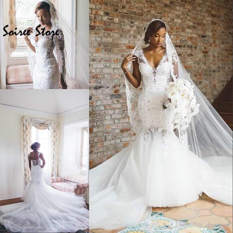 Custom African Mermaid Wedding Dresses V Neck Fishtail Church Garden Wedding Gowns Backless Sweep Train Tulle Bride Dess 2019