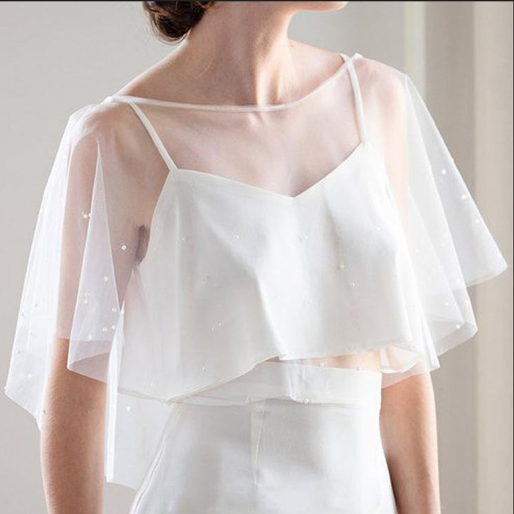 Tulle Pearls Gauze Bridal Shawl Wraps In BOLERO Bridal Wedding Jacket