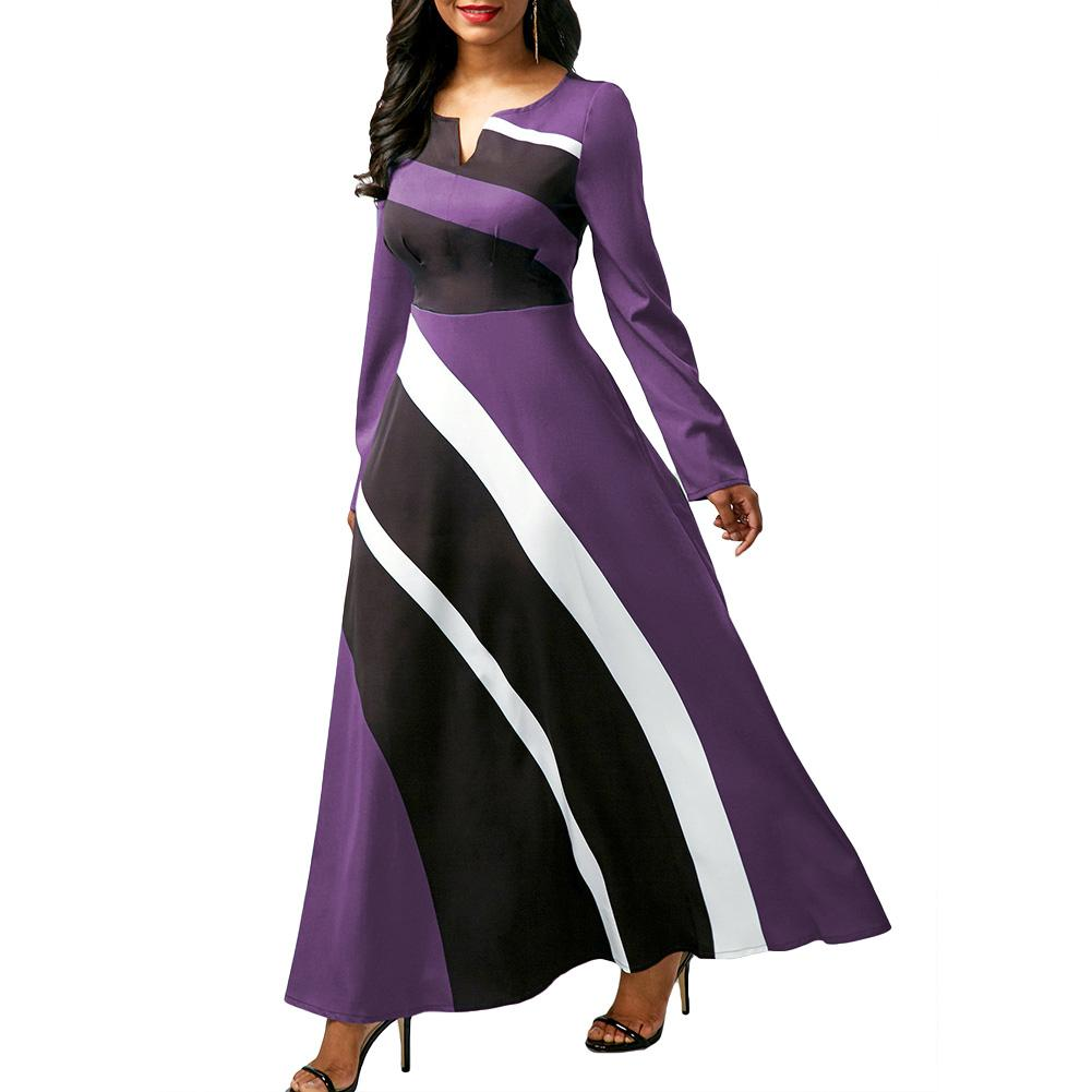 Plus Size 5XL Women Long Sleeve V Neck Color Block High Waist...