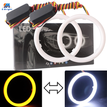 2 sztuk oczy anioła do reflektorów samochodowych 60mm 70mm 80mm 90mm 95mm 100mm 110mm 120mm pierścienie halo do samochodu bawełna światła 12V reflektor 4014 SMD biały + żółty