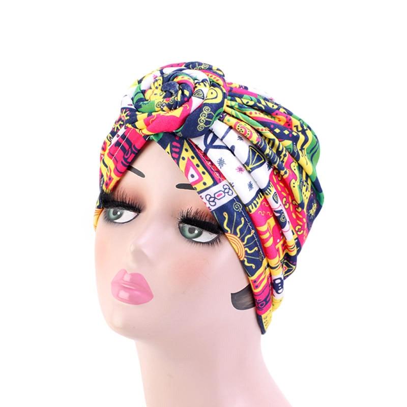 Image 3 - New Women african pattern Knotted flower Turban Muslim Turban  Twist Knot India Hat Ladies Chemo Cap Bandanas Hair AccessoriesWomens  Hair Accessories