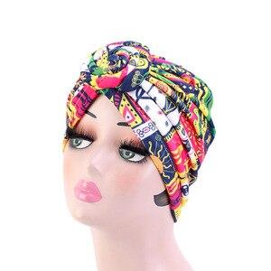 Image 3 - New Women african pattern Knotted flower Turban Muslim Turban Twist Knot India Hat Ladies Chemo Cap Bandanas Hair Accessories