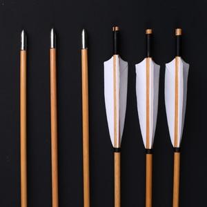 Image 3 - 6/12/24 Uds. De flechas naturales de madera hecho a mano 32 pulgadas con pluma de pavo blanco y punta de flecha de hierro para tiro con arco de 20 60lbs
