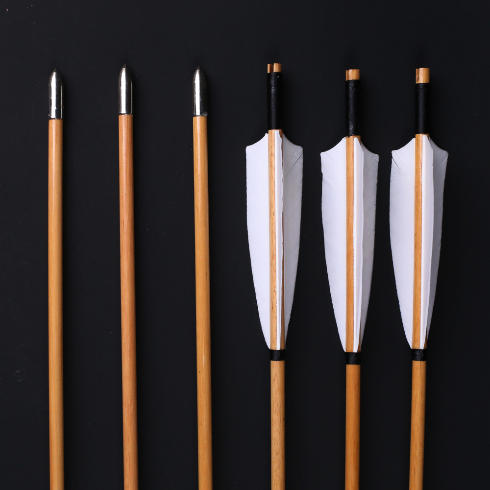 Image 3 - 6/12/24pcs Natural Handmade Wooden Arrows 32inch with White Turkey Feather and Iron Arrowhead for 20 60lbs Bow Archery Shootingwood arrowswooden arrows featherfeather for arrow -