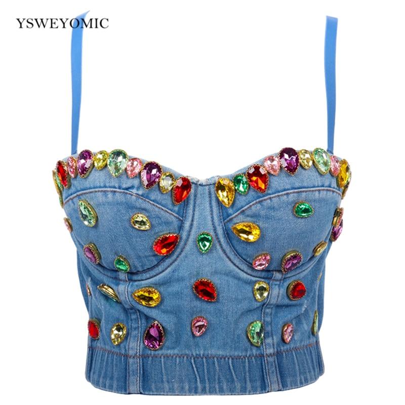Dance Wear Denim Jeans Rhinestones Women's Button Bustier Bra Night Club Party Cropped Top Vest Plus Size