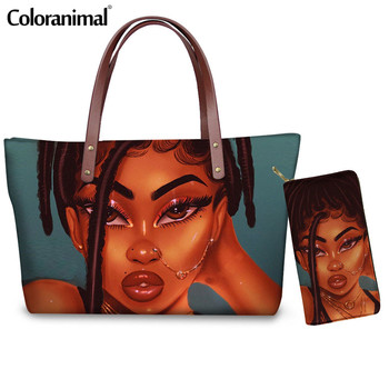 Coloranimal American Women Handbag, Luxury Brand Long Leather Wallets Set for Female Black Art African Girl Shopper Shoulder Bag