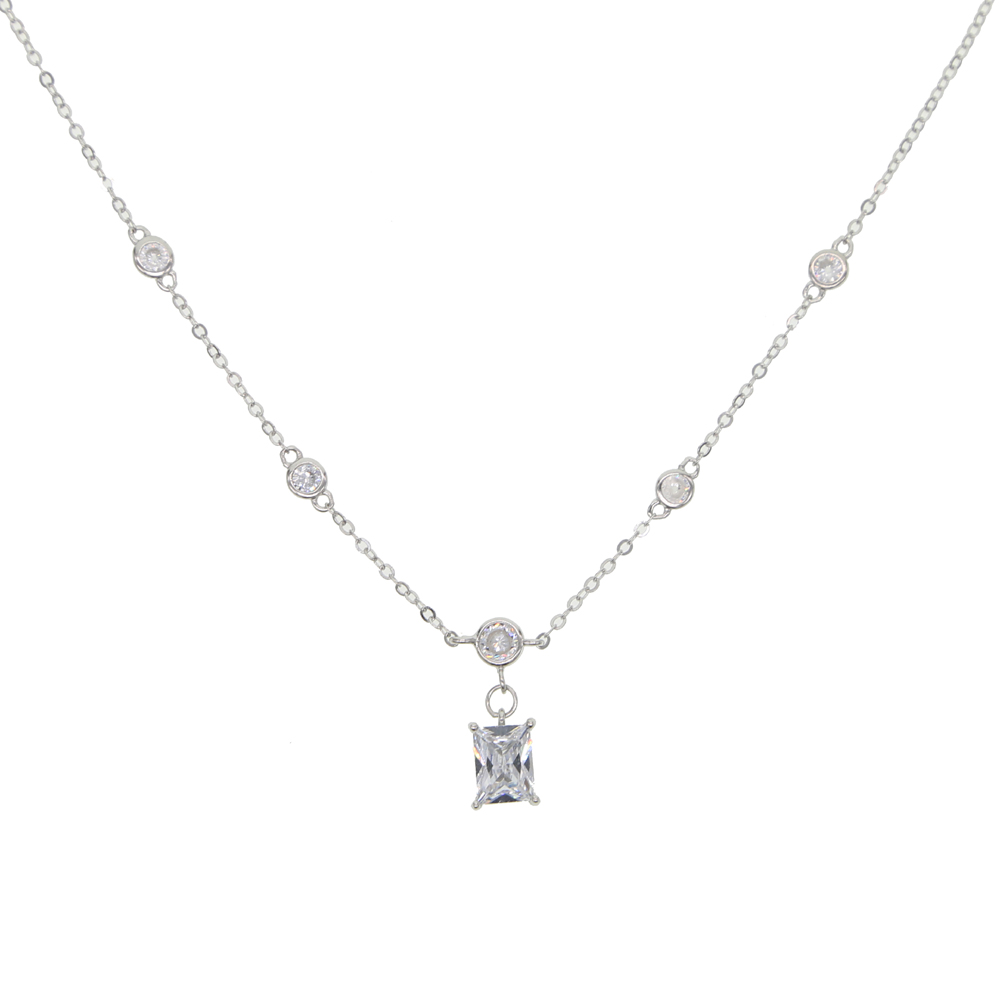 925 sterling silver round bezel cz station chain with single baguette stone charm dainty fashion necklace women jewelry