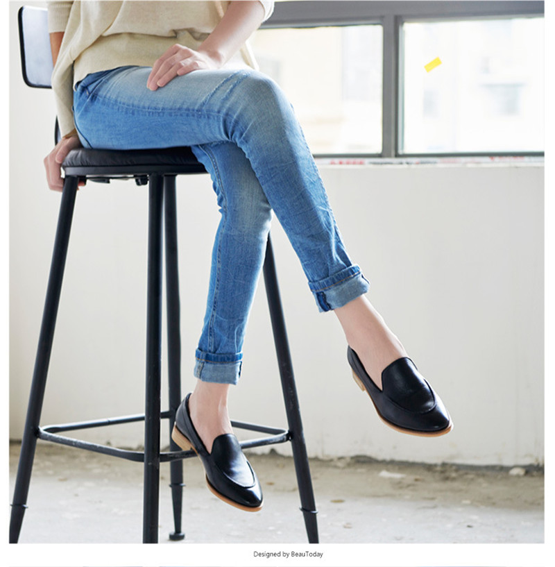 Spring Summer Genuine Leather Women`s Loafers New Fashion Pointed Toe Women`s Flats Oxfords Singles First Layer Leather Brogues (3)