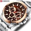 Мужские часы CURREN из нержавеющей стали  новые спортивные часы  хронограф и светящиеся указатели  наручные часы  модные мужские нарядные часы