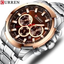 Relógio de aço inoxidável curren novo relógio esportivo cronógrafo e ponteiros luminosos relógio de pulso moda masculino vestido relógios