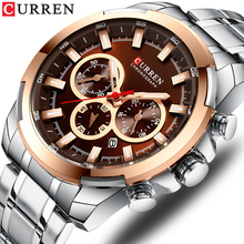 Stainless Steel Mens Watch CURREN New Sports Watch Chronograph and Luminous pointers Wristwatch Fashion Mens Dress Watches