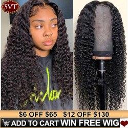 SVT индийский глубокий кудрявый кружевной передний парик, человеческие волосы, парики для черных женщин, глубокая волна, 4x4, бесклеевая круже...