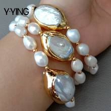 8'' 3 Rows Cultured White Baroque freshwater Pearl White Keshi Pearl Bracelet for handmade classic wedding for women