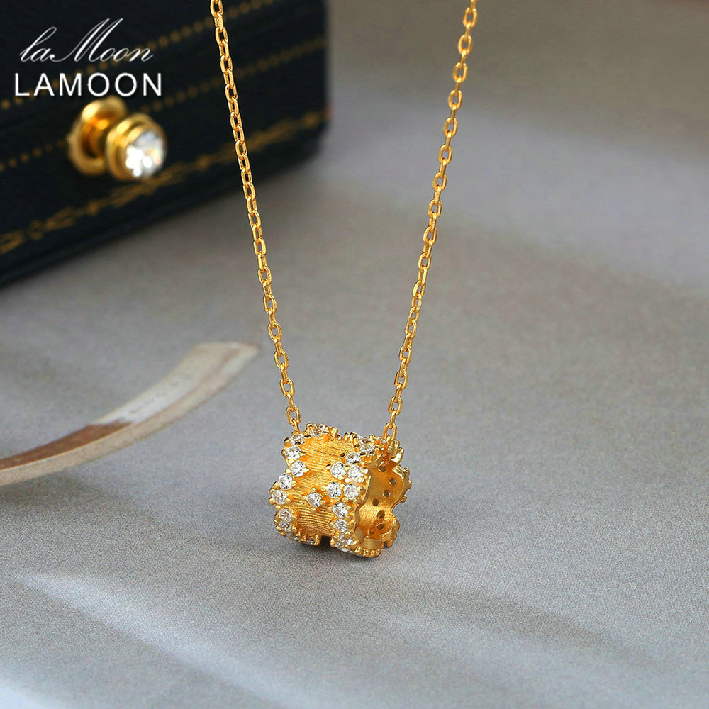 LAMOON 925 Sterling Silver Pendant Neckelace For Women Light Gold Plated Jewellery Star CZ Diamond Necklaces Fine Jewelry Ni084(China)