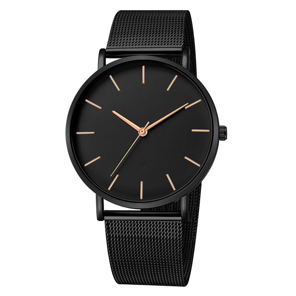 2020 Minimalist Men's Fashion Ultra Thin Watches Simple Men Business Stainless Steel Mesh Belt Quartz Watch Relogio Masculino @5