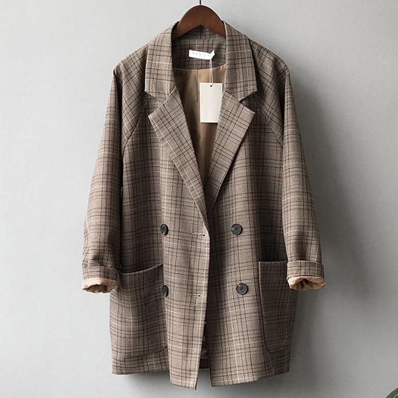 Women's Brown Blazer Jacket Plaid Elegant Coat Padded Slim Cotton Casual Cardigan Feminine Coat Autumn Female Fashion Blazers