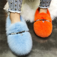 2020 New Winter Warm Fur Shoes Women Flats Beading Moccasins Outside Loafers Espadrilles Ladies Mink Fur Flat Shoes