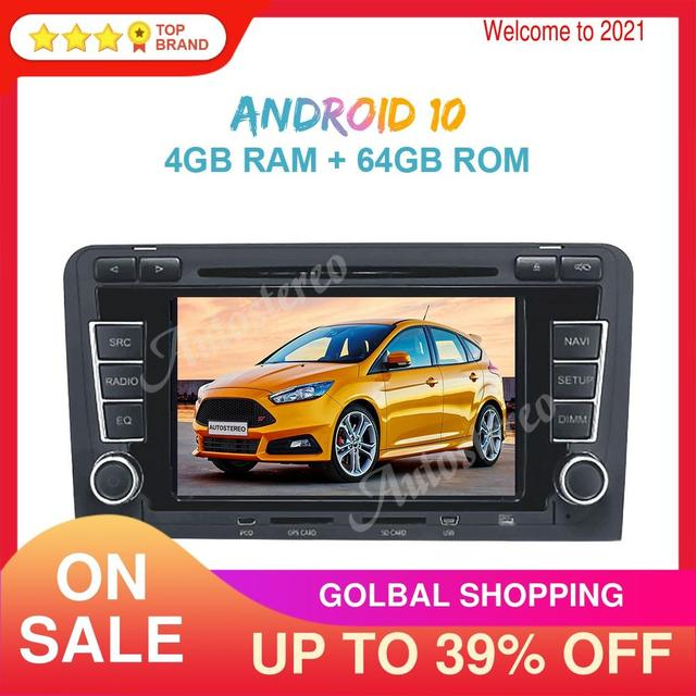 Android 10 PX5/PX6 Car Radio DVD Player GPS Navigation For Audi A3 2003 2013 Auto Stereo Multimedia Player Head Unit ISP Screen