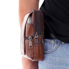 New Fashion Men Leather Waist Bag Large Capacity Belt Bag Brown Shoulder Bags Crossbody Bags Multi-layer Buckle Mobile Phone Bag