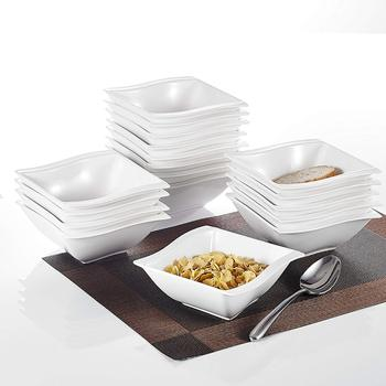 MALACASA 18-pieces 12 Ounce White Porcelain Square Soup Cereal Oatmeal Bowls Dinnerware Bowl Sets Dinner Breakfast Household