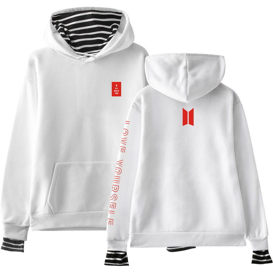 New Style Hot Sales Trend Bts Love Yourself Mock Two-Piece Hooded Sweater Women's