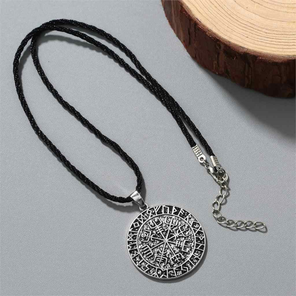 Cxwind mode disque rond gravé boussole collier pendentif islamique musulman coran Allah rétro femmes étoile croix pendentif bijoux